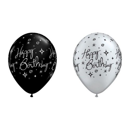 Qualatex Happy Birthday Sparkles and Swirls Latex Balloons 11in