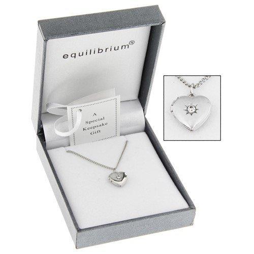 Equilibrium Silver Plated Necklace Heart Locket Christening Keepsake