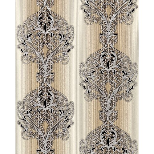 EDEM 096-23 wallpaper baroque damask ornament brown beige silver black 5.33 sqm