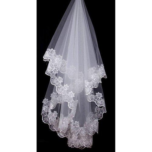 Charming Single-layer Embroidery Lace Edge Bridal Wedding Veil, White/1.5M Long