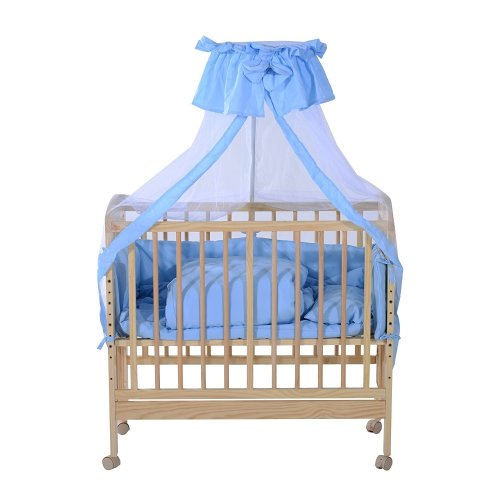 Homcom Kids Convertible Bedside Cot Bed Wooden Adjustable Deluxe Baby Crib with Bedding Sets