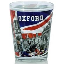 Oxford Shot Glass Union Jack Flag Montage Collage Souvenir Gift Hen Stag Party Tourist Student Graduates