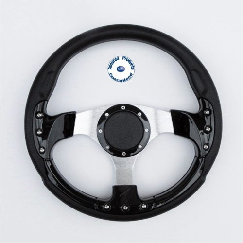 """""""Grand Prix Sport"""" Padded Boat Steering Wheel BLACK and SILVER."""