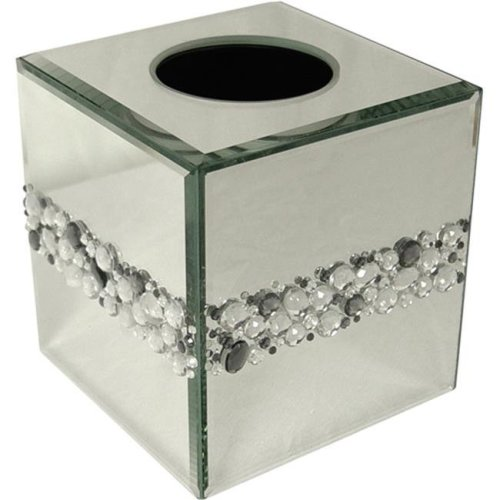 Elegant Home Fashions 90405 Bling Tissue Box Cover - Silver Mirror-Multi Color Beads