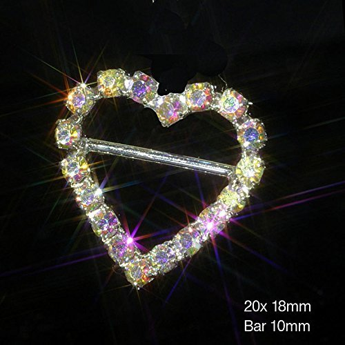 10 x 'AB' Heart Ribbon Slider Buckles Great For Weddings, Crafts and Decoration