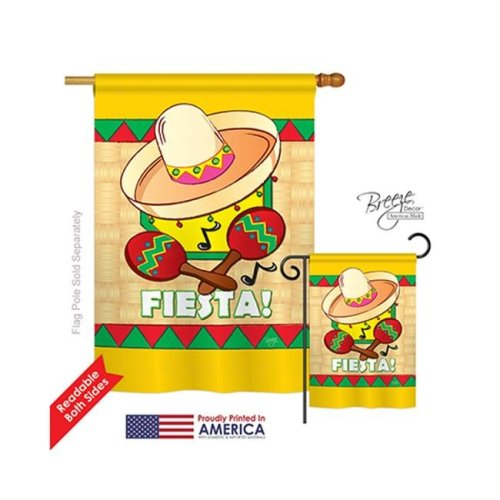 Breeze Decor 15026 Southwest Fiesta 2-Sided Vertical Impression House Flag - 28 x 40 in.
