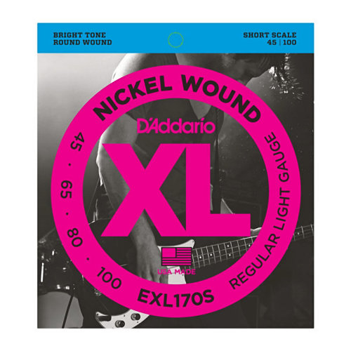 D'Addario EXL170S Nickel Wound Bass Strings, Light 45-100, Short Scale