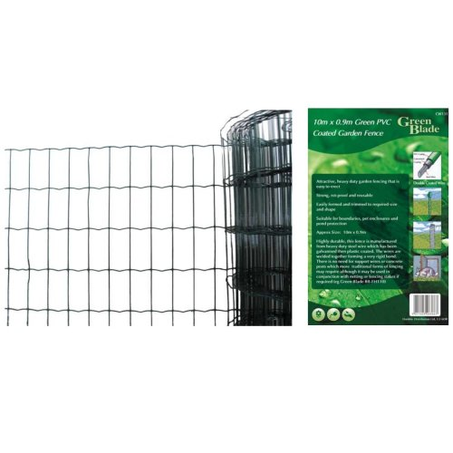 10mx 0.9m Green Pvc Coated Border Fence -  garden green wire fence heavy duty galvanised fencing xl strong border steel 10mx 09m outdoor 10x09m