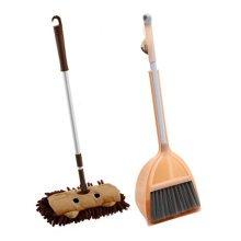 Children Housekeeping TOY Cleaning Play Set-Children Broom Dustpan Mop Suit, Orange&Brown