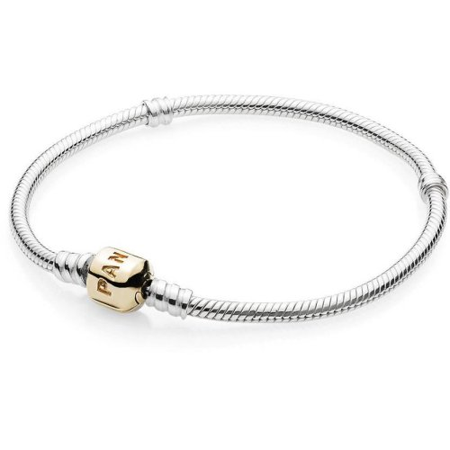 Pandora Sterling Silver Bracelet With 14K Gold Clasp - 590702HG-20