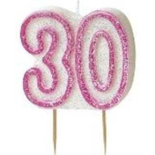 Age 30 Birthday Candle Pink Glitz