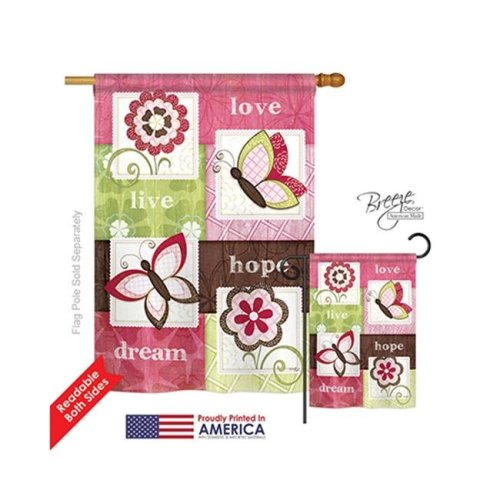 Breeze Decor 00056 Welcome Butterfly Floral 2-Sided Vertical Impression House Flag - 28 x 40 in.