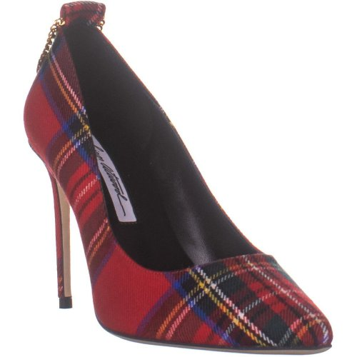 Brian Atwood Voyage Pointed Toe Classic Pumps, Red Scottish Plaid, 4.5 UK