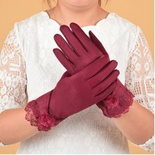 Elegant Suede Fabric Lace Gloves
