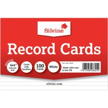"Silvine Record Cards 6""X4"" 100/Pkg-White, Ruled"