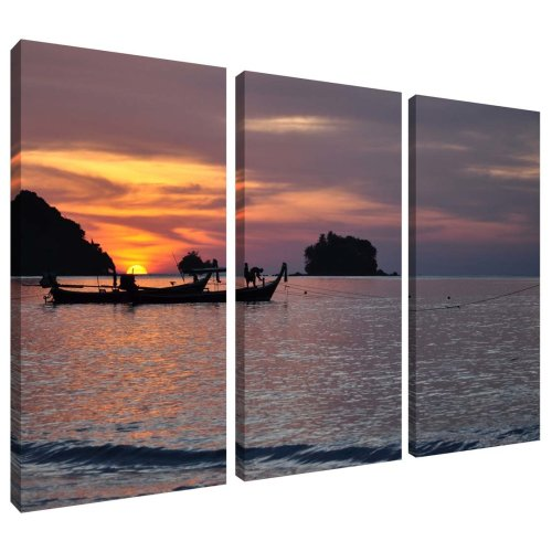 Tropical Island Sea Sunset Canvas Wall Art Print 3 Panel Split Picture
