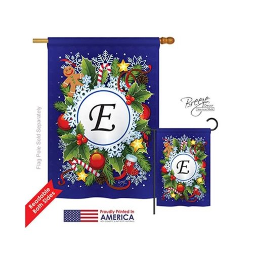 Breeze Decor 30083 Winter E Monogram 2-Sided Vertical Impression House Flag - 28 x 40 in.