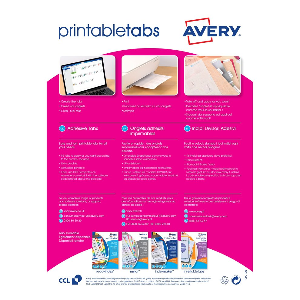 photograph about Printable Divider Tabs named Avery 05412061 Double Sided Printable Adhesive Divider Tabs, 96 Tabs For every Pack - White