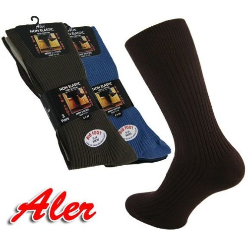 Men's 100% Cotton BIG FOOT Non Elastic Socks by Aler
