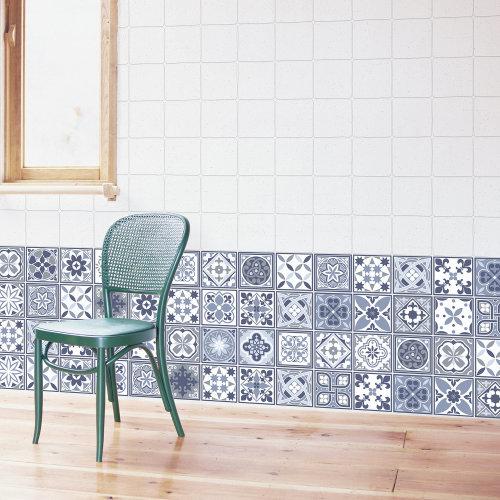 Walplus Tile Lisbon Blue Wall Sticker Decal (Size: 10m x 10cm @ 24pcs)