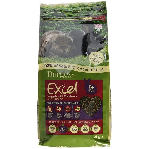 Burgess Excel Nuggets with Cranberry, Ginseng Mature Rabbit Food 2kg (pack of 2)