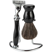 Mach 3 Full Shaving Set With Matching Black Handle And Badger Hair Brush With A Metal Shaving Stand