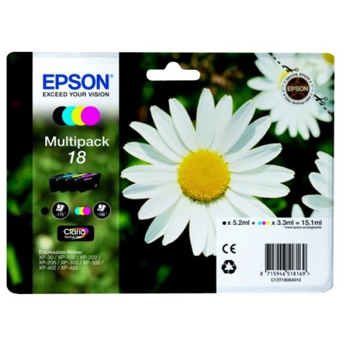 Epson C13T18064022 (18) Ink cartridge multi pack, 175pg + 3x180pg, 1x 5ml + 3x 3ml, Pack qty 4