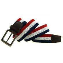 Mens Women Double layer Elastic Stretch Pin Buckle Belt Casual Weaving Golf Waistband