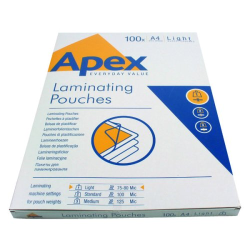 100pk Fellowes Apex Light A4 Laminating Sheets | A4 Laminating Pouches