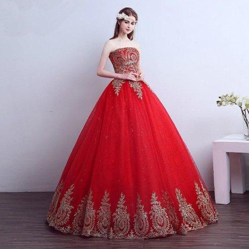 Red lace princess court wedding Dress red flower lace wedding Dress princess flower red golden lace wedding dress