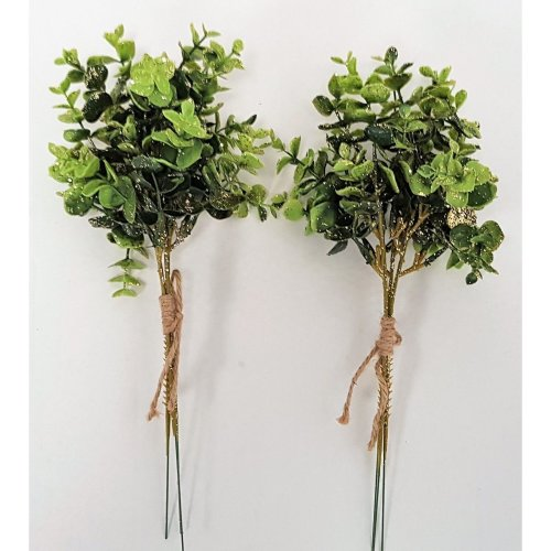 Set of 2 Artificial Eucalyptus Bundles with Gold Glitter - 30cm - Christmas