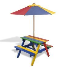 Kids' Rainbow Picnic Bench & Parasol Set | Kids' Multi-Coloured Garden Table