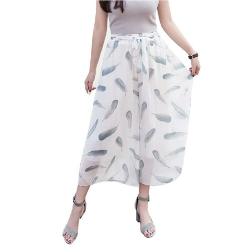 Stylish Printing Design Loose Fitting Pants Wide Leg Trousers Slacks for Women, #07