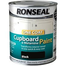 Ronseal One Coat Cupboard Melamine & MDF Paint 750ml - HIGH GLOSS Black