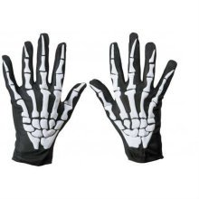 Black Adults Skeleton Gloves -  gloves halloween skeleton fancy dress theme costumes accessory