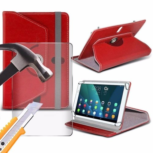 Itronixs - Alba 8 Inch (8 Inch) Tablet Case Premium Pu 360 Rotating Leather Wallet with Tempered Glass Lcd Screen Protector Guard