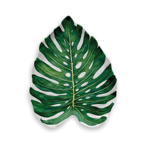 Epicurean Amazon Floral Monstera Leaf Melamine Platter