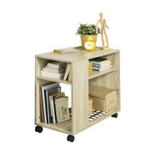 SoBuy® FBT34-N, Side Table End Table Coffee Table with Storage Shelves on Wheels