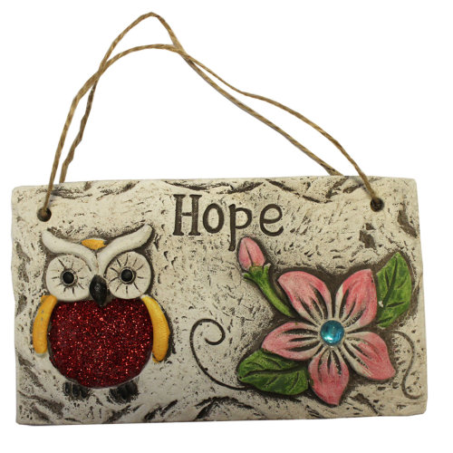 Garden Hanging Wall Plaque - Owl Design with Glitter Detail - Pink Flower Owl - Hope