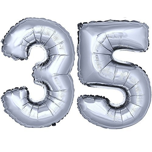 DekoRex Foil Balloons 16 For Air Filling Birthday Celebration Garland 40cm Silver Number 35 On OnBuy