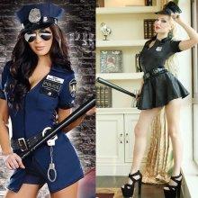 Women's Sexy Police Cop Officer Uniform Fancy Dress Halloween Cosplay