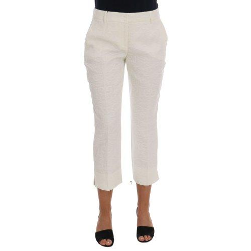 Dolce & Gabbana White Floral Brocade Capri Pants