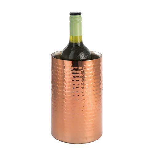Wine Cooler 12cm Copper - Epicurean Straight Sided Chiller Hammered Finish -  epicurean straight sided wine cooler chiller hammered copper finish
