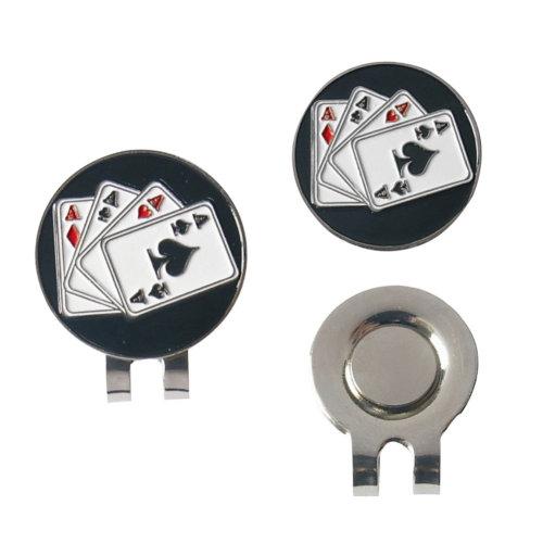 Poker Spades Ball Gauge Pattern Golf Hat Clip Marker