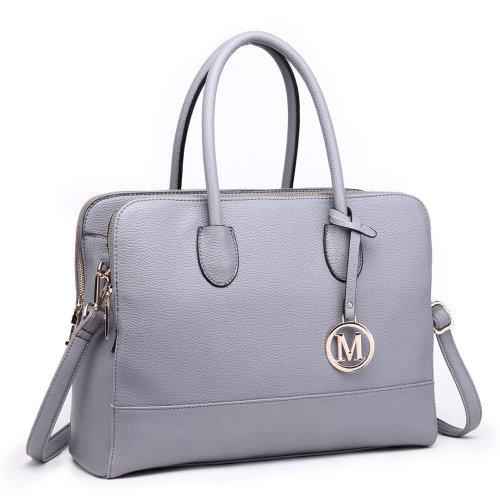 Miss Lulu Women Handbag Laptop Shoulder Bag Tote Grey