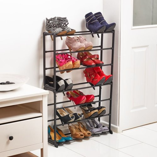 Vinsani Shoe Rack With Plastic Plated Tubing & Plated Steel Frame Black 7 Tier