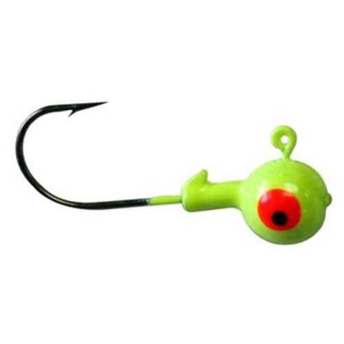 Big Rock Sports 245575 0.3 oz Chartreuse Round Jig Head, Pack of 10