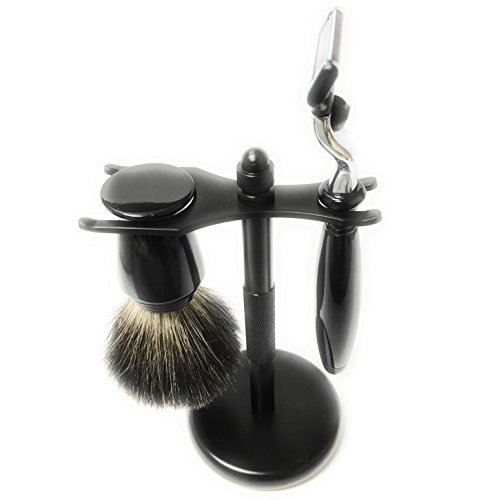 Shaving Gift Set 3 Pc with Black Chrome Razor 3 Blade, Black Chrome Handle Pure Badger Brush and Chrome Stand From GBS