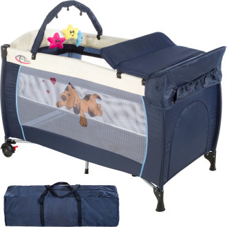 Travel cot dog with changing mat and play bar blue