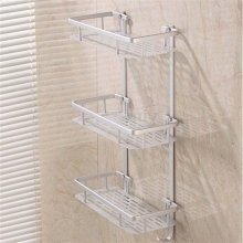 3-Tier Chrome Plated Shower Caddy | Triple Layer Shower Basket